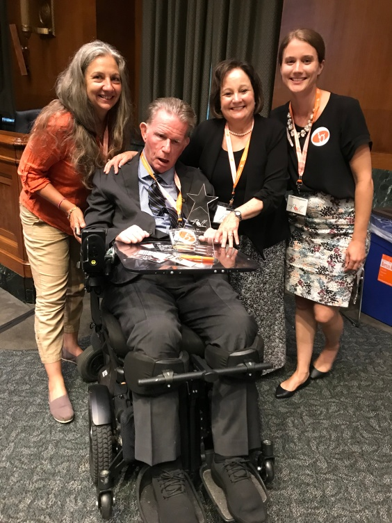 The girls with Kathy & Earle Powdrell, 2018 Finn Bullers Advocates of the Year.